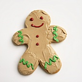 Frosted Gingerbread Man Cookie on White