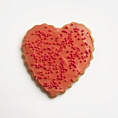 Decorated Valentine Heart Cookie on White
