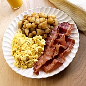 Scrambled Eggs, Thick Sliced Bacon and Home Fries