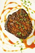 Steak with Scallion Garnish and Sauce