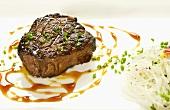 Grilled Steak with Scallion Garnish; Noodles