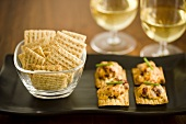 Bowl of Crackers with Cheese and Cracker Hors d'Oeuvres; Wine