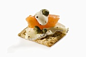 Salmon,Caper and Cheese Appetizer on Cracker