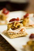 Cracker with Turkey, Stuffing and Cranberry; Appetizer