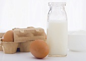 Cage Free Eggs and Bottle of Organic Milk