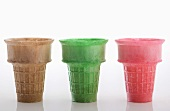Three Colored Ice Cream Cones