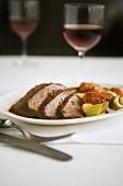 Sliced Beef Brisket with Vegetables on Plate