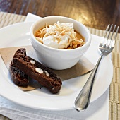 Espresso Custard with Toasted Coconut and Chocolate Biscotti