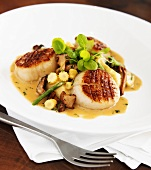 Pan Seared Scallops with Chanterelle Mushrooms and Baby Corn