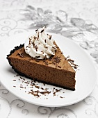 A Slice of Mocha Mousse Pie with Whipped Cream