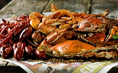 Crawfish and Crabs on Newspaper