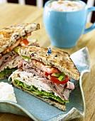 Large Turkey and Roast Beef Sandwich; Halved