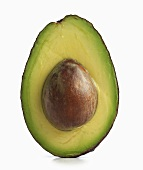 Half and Avocado with Pit; White Background