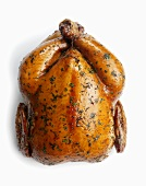 Whole Roast Chicken on White Background; From Above