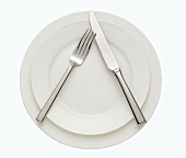 Place Setting with White Plates; Fork and Knife