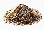 Pile of Various Grains of Rice; White Background