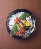 Santa Barbara Spot Prawn with Roe on Leaf Over Ice