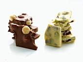 Pieces of White Chocolate and Milk Chocolate Bark with Nuts