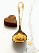 Gold,Dust,Decoration,Decorative,Chocolate,Confection,Ingredient,Spoon,Spoonful,Glitter,Edible