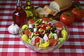 Antipasto Salad in Glass Bowl; Ingredients
