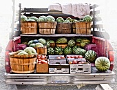 Baskets of Fresh Watermelons and Peaches in a Truck