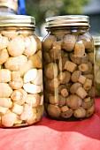 Two Jars of Mushrooms