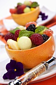 Fresh Fruit Salad in Grapefruit Peel; Pansy Garnish