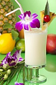 Pina Colada with Orchid Garnish