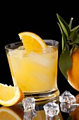 Screwdriver with Orange Wedges and Ice Cubes