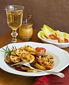 Roasted Sausage, Potato and Vegetable; Endive Salad