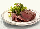 Filet Mignon, Partially Sliced, with Salad