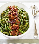 Serving Dish of Braised Green Beans with Bacon