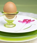 Brown Egg in Green Glass Egg Cup