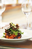 Beet Salad Topped with Greens