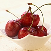 Wet Cherries in a Small Bowl