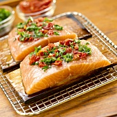 Two Cedar Planked Salmon Fillets with Sundried Tomatoes and Parsley