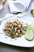 Cannellini Beans, Tuna and Red Onion Salad with Parsley; Cucumber Slices