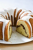 Cinnamon Bundt Coffee Cake with Icing; Slice Removed
