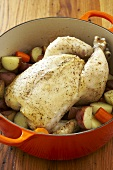 Chicken in a Pot, Whole Chicken Cooked with Root Vegetables in Dutch Oven