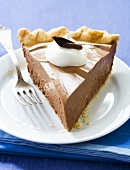 Slice of French Silk Pie with Fork; Chocolate Custard Pie