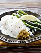 Baked Stuffed Sole with Asparagus
