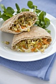 Humus and Sprout Filled Pita Bread