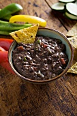 Bowl of Black Bean Dip with Tortilla Chip