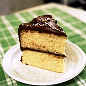 Slice of Yellow Cake with Chocolate Frosting with Sprinkles