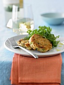 Plate of Crab Cakes with Greens