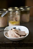 Home Canned Organic Tuna in a Bowl; Jars of Tuna