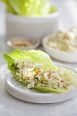 Crab and Rice Salad Served on Lettuce Leaf