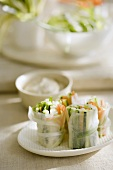 Crudite Spring Rolls on a Plate