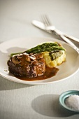 Beef Filet with Mushroom Sauce; Potato and Asparagus