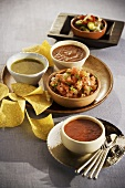 Corn Chips with Four Different Salsas and Dips